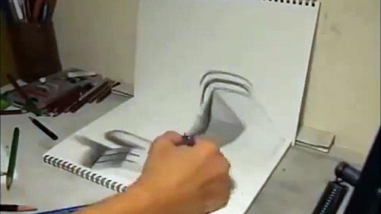 صورة كيفية رسم 3d بالرصاص بالخطوات , رسم لا يحتاج موهبة لاكن يحتاج تدريب