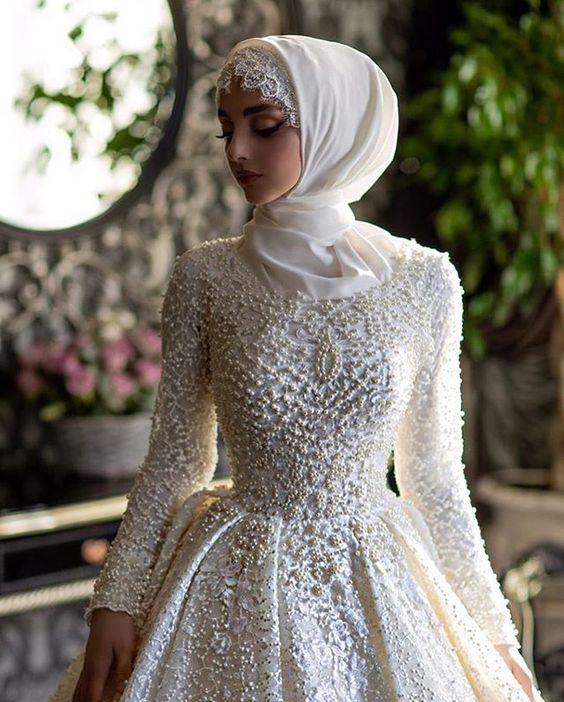 صور فساتين عرائس محجبات , صور افخم فساتين زفاف للمحجبة