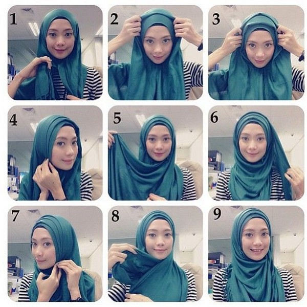 صور لف الحجاب بالصور , خليكي انيقة واتعلمي الطريقة